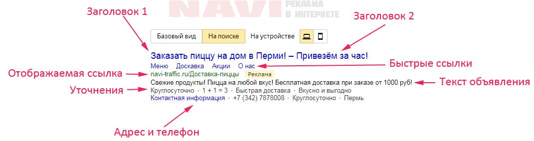 Пример объявления на поиске в Яндекс Директ