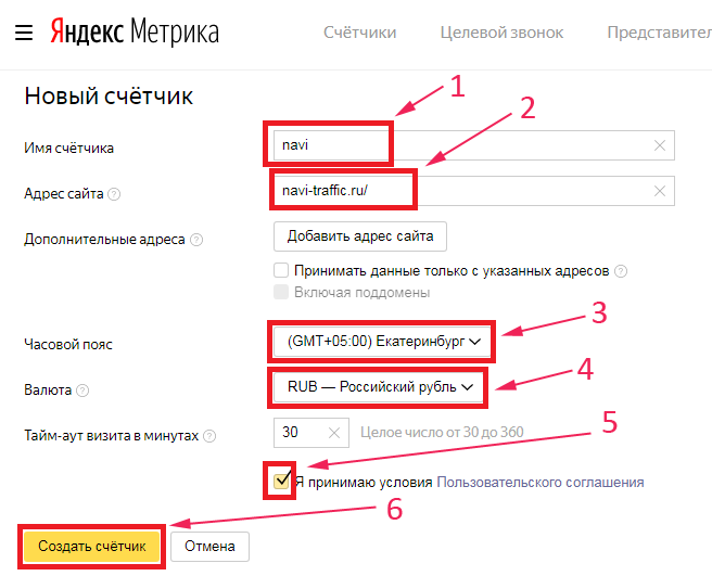 Яндекс Метрика - Заполнение