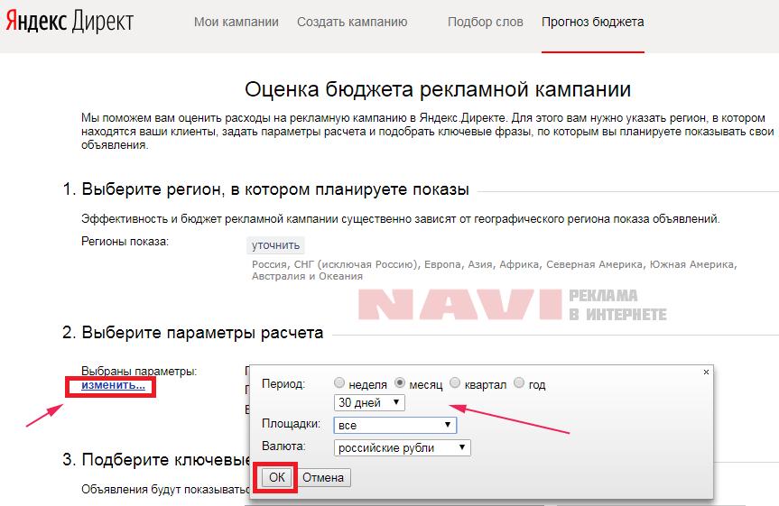 Яндекс - оценка бюджета - параметры
